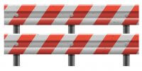 vector design illustration of metallic road barrier fence isolated on white background