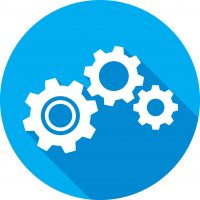 illustration of a blue gears icon in flat style.